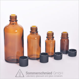 Blown glass bottles, amber glass bottles for medical industry, for essential oils and other types of oils, different sizes
